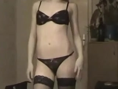Concupiscent Legal Age Teenager with nylons Goo filled
