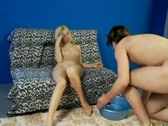 Sissy thrall shaves and licks his mistress