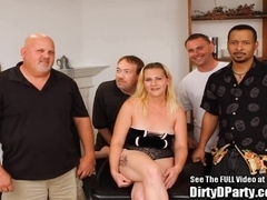 Blonde MILF Surrounded by Younger Dicks!