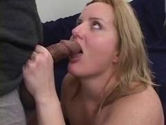 Big ass blonde fucks two guys!