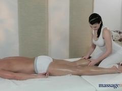 Brunette lesbian does professional massage to lover