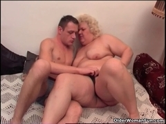 Obese granny likes to give and receive oral job enjoyment