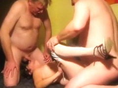 Nerdy mature woman with glasses has a threesome