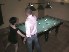 Gal on billiard table