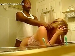Awesome interracial bath act