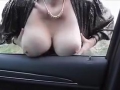 Lewd girl shows her tits and holes and lets me fuck her in the car