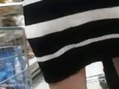 Stockings upskirt in market