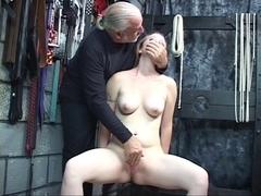 Dom stud helps nude babe masturbate