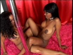 Darksome cuties lesbo sex toy act on couch