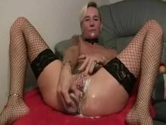 Slippery german dildo in ass