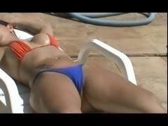 Lusty Brazilian tramps having fun at a poolside