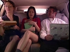 Sexy hottie group-fucked in the car