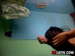 Latin Girl Washing Herself