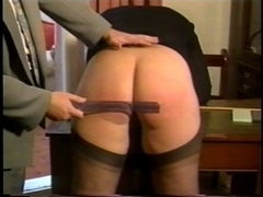 Insubordinate golden-haired hottie's gazoo receives spanked