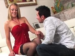 Mature blonde in black stockings takes great facial