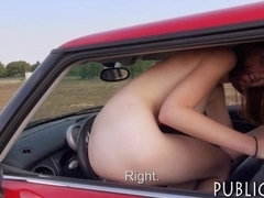 Redhead amateur Eurobabe flashes and fucked for money