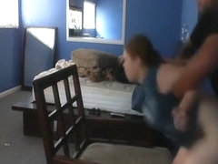 Fat girl doggystyle and missionary sex with creampie on a chair