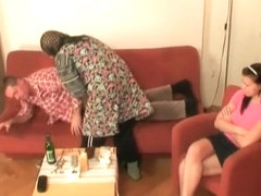 Hot babe helps granny to sucks a cock