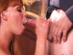 Ginger babe jerking dick in taboo group