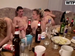 Dana and Janet attend to wild college orgy and smash their cunts