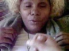 Ebony mature gets a big facial