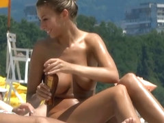 Bewitching Beach Cutie with Large Natural Bra Buddies