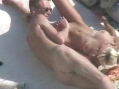 Skinny nudist couple oral sex