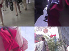 Redhead in mini skirt flashes ass in upskirt video