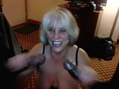 Whore wife on her knees engulfing off 2 BBCs