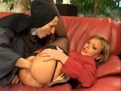 French nun fisting her lesbian blonde friend on a couch