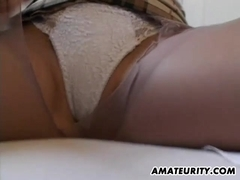 Busty amateur girlfriend toys and sucks with cumshot