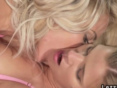 Brunette lesbo fisting busty blonde