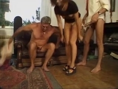 Brunette milf DPed by 2 young studs, very rough.