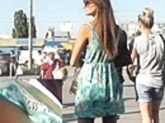 Lengthy haired teenager candid up petticoat
