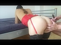 Spanking Blowjob with Ass to Mouth for Slave in Lingerie