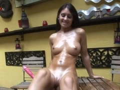 Julia in PornXN video:Garden Dildo