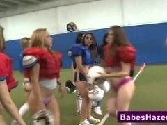 Sporty amateur teens strip