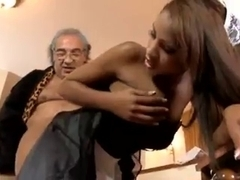 Dark skinned French maid fucks her older employer