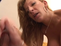 Golden-Haired mother I'd like to fuck in belt squeezes her large admirable zeppelins on daybed