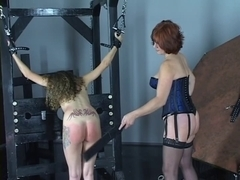 Youthful cheerleader brunette hair receives spanked and cum-hole licked by aged lesbo