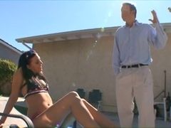 Brunette Hair bikini playgirl sucks aged dude's strapon and let him fuck her