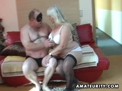 Bulky non-professional wife sucks and bonks on her daybed