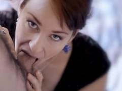 Naughty redhead acts slutty and does professional bj