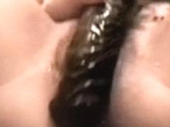 Dark huge marital-device penetrating her all wet love tunnel