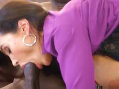 Latina sucks an ebony rod like there's no tomorrow