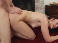 Flex model doggystyled then throats hard cock