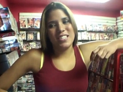 Latina girl Samantha teasing Josh in the store