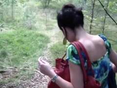 Erotic Ella outdoors horny showing off her pussy before sucking dick