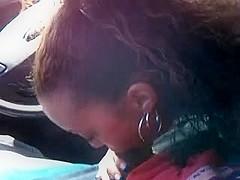 Ebony cock suck in driver's seat two