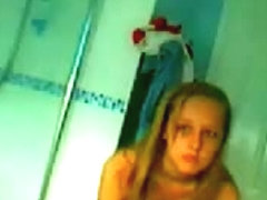 Hidden shower cam video of a sexy blond babe showering